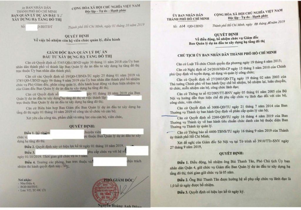 Quyết định bổ nhiệm cán bộ được cho là của ông Nguyễn Hoàng Anh Dũng, Phó Giám đốc Ban Quản lý dự án đầu tư xây dựng hạ tầng đô thị ký trước khi có quyết định bổ nhiệm Giám đốc mới 2 ngày